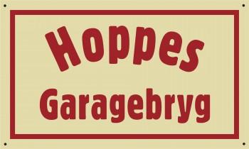 """Emaljeskilt """"Hoppes Garagebryg"""""""